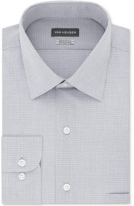 Van Heusen Men Classic/Regular Fit Wrinkle Free Solid Micro-Check Dress Shirt