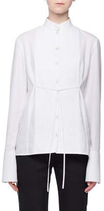 Victoria Beckham Victoria Band-Collar Pintucked Button-Front Long-Sleeve Tie-Waist Cotton Pique Shirt