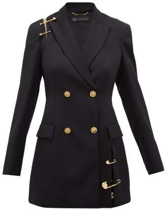 Versace Safety Pin Embellished Wool Blazer - Womens - Black