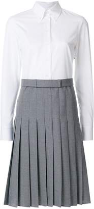 Thom Browne Button Down Pleated Bottom Shirtdreshort Sleeve With Belt In School Uniform Plain Weave