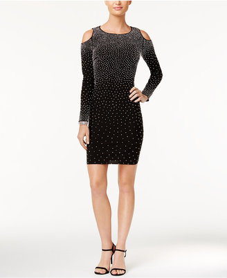Xscape Cold-Shoulder Rhinestone Bodycon Dress $229 thestylecure.com