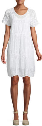 Johnny Was Mixed Berry Georgette Short-Sleeve Shift Dress, Plus Size