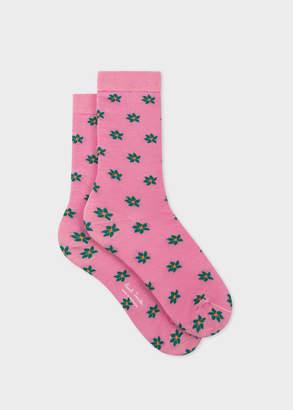 Paul Smith Women's Pink 'Daisy Polka' Pattern Socks