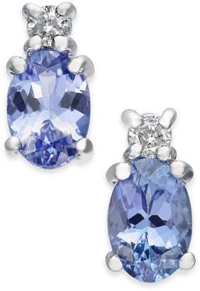Macy's Tanzanite (1 ct. t.w.) & Diamond Accent Stud Earrings in 14k White Gold