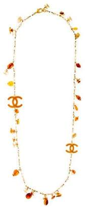 Chanel Amber Faux Pearl & Resin Station Necklace Gold Chanel Amber Faux Pearl & Resin Station Necklace