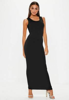 Missguided Black Square Neck Maxi Dress