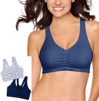 Hanes X-Temp Comfy Support 2ply Pullover 2-Pack Wireless Racerback Unlined Full Coverage Bra-Dhhb70