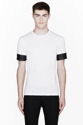 Neil Barrett White leather-sleeved t-shirt
