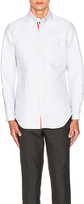 Thom Browne Quilted Small Herringbone Oxford Shirt $1,490 thestylecure.com