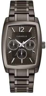 Bulova CARAVELLE Designed by Caravelle Men's Barrel Chronograph Gunmetal Stainless Steel Bracelet Dress Watch