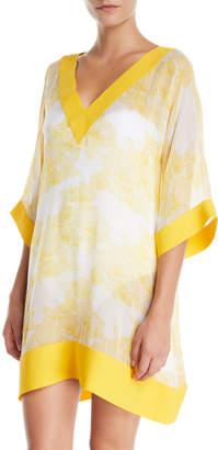 Chiara Boni Helly Floral-Print Silk Coverup Tunic