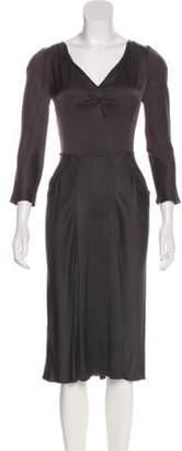 Prada Silk Midi Dress Grey Silk Midi Dress