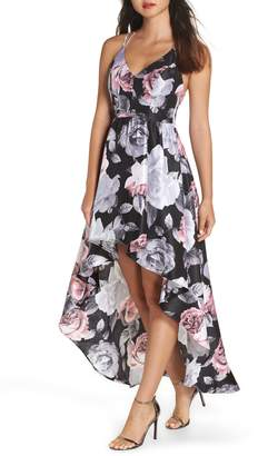 Sequin Hearts Floral Print Shantung High/Low Gown
