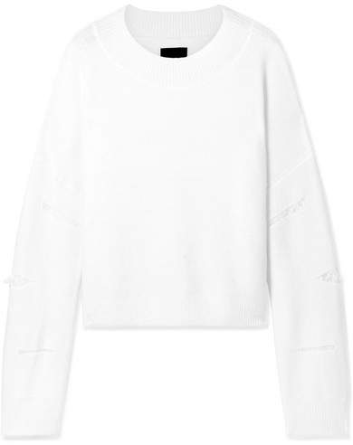 Liam Distressed Knitted Sweater - Off-white