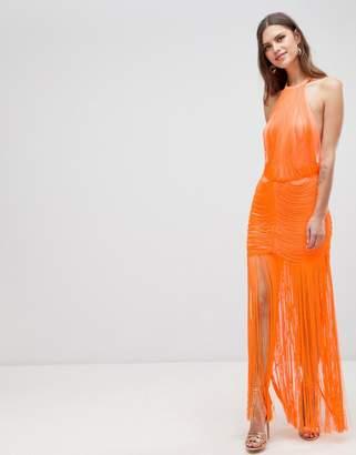 Asos Design DESIGN Dropped Waist Fringe Maxi Dress