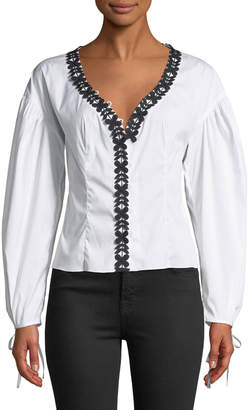 Milly Kayley Floral-Applique Top