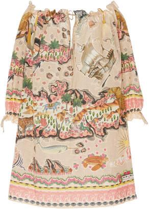 Liberty London Sedona Orellana Cotton-Voile Off-The-Shoulder Mini Dres