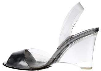 Stuart Weitzman PVC Wedge Sandals