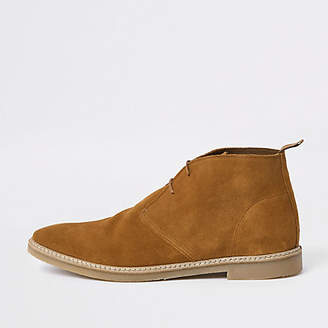 River Island Mens Tan suede eyelet desert boots
