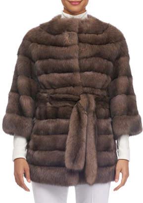 Tsoukas Barguzin Horizontal Sable Fur Stroller Coat