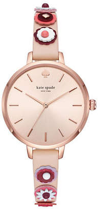Kate Spade Womens Metro Three-Hand Nude-Leather Watch