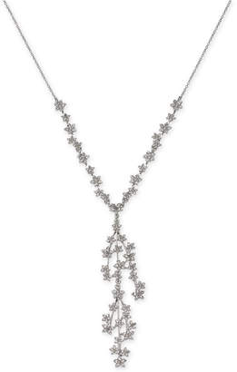 """INC International Concepts I.N.C. Silver-Tone Crystal Cluster Flower Y-Necklace, 16"""" + 3"""" extender, Created for Macy's"""