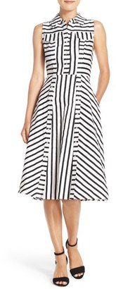 Women's Julia Jordan Stripe Stretch Cotton Shirtdress $138 thestylecure.com