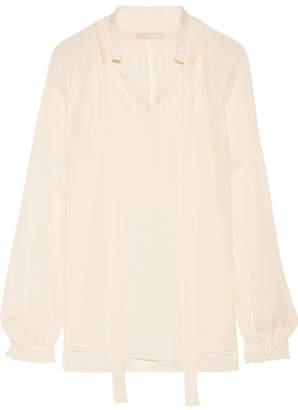 MICHAEL Michael Kors - Pussy-bow Silk-georgette Blouse - Ecru $240 thestylecure.com