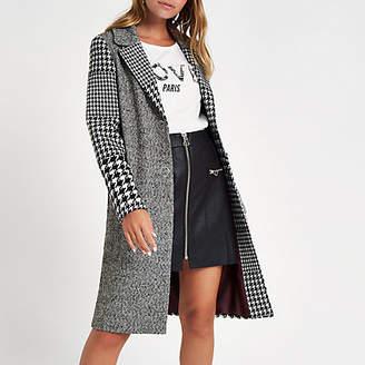 River Island Petite grey check longline coat