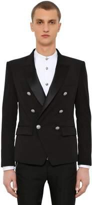 Balmain Double Breasted Wool Gabardine Jacket