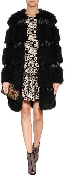 Anna Sui Faux Fur Coat in Black
