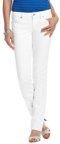 LOFT Petite Modern Straight Leg Jeans in White
