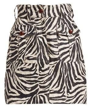 Zimmermann Corsage Safari Zebra Print Mini Skirt