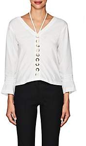 Derek Lam 10 Crosby WOMEN'S GROMMET-EMBELLISHED COTTON HALTER BLOUSE - WHITE SIZE 4