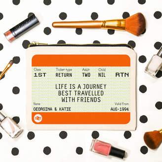 Of Life & Lemons Personalised Train Ticket Friendship Make Up Bag
