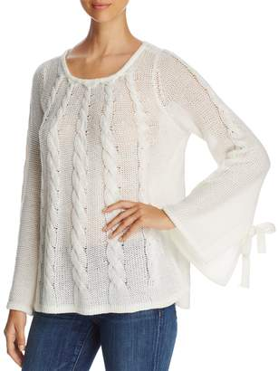 Design History Openwork Cable-Knit Bell-Sleeve Sweater