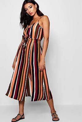 boohoo NEW Womens Split Front Striped Midaxi Dress in Polyester