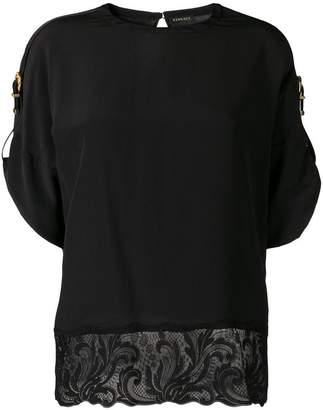 Versace lace trim buckle sleeve T-shirt