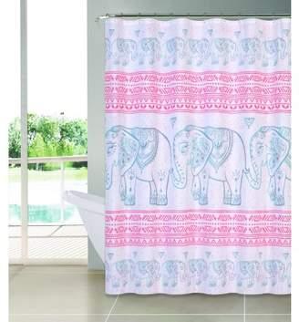 Indecor Home Fabric Shower Curtain With Hooks - Elephant Prophet
