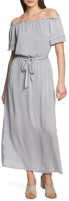 1 STATE 1.STATE Off the Shoulder Pinstripe Maxi Dress