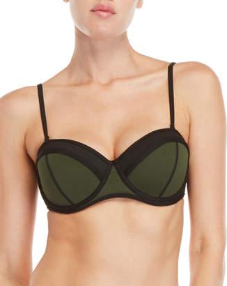 KENDALL + KYLIE Mesh Trim Molded Bikini Top