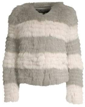 Pologeorgis Stripe Fox-Fur Jacket