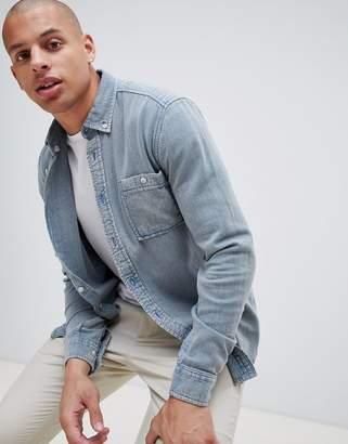 Asos Design DESIGN brushed twill overshirt in blue
