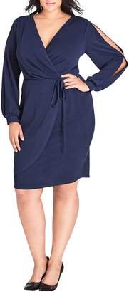City Chic Split Sleeve Faux Wrap Dress