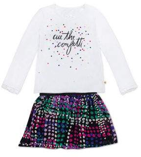 Kate Spade Little Girl's Two-Piece Cue The Confetti Top & Multicolored Chiffon Skirt Set