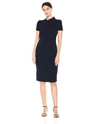 Maggy London Women's Solid Crepe midi Short Sleeve Sheath with Neck tie
