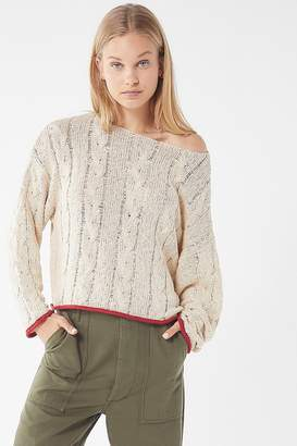 Urban Outfitters Carly Contrast Trim Cable Knit Sweater