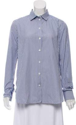 Celine Striped Button-Up Top Blue Striped Button-Up Top