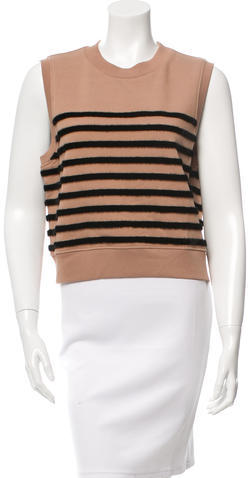 T by Alexander Wang Striped Faux Fur Sleeveless Top w/ Tags