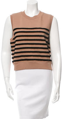 T by Alexander Wang Striped Faux Fur Sleeveless Top w/ Tags $95 thestylecure.com